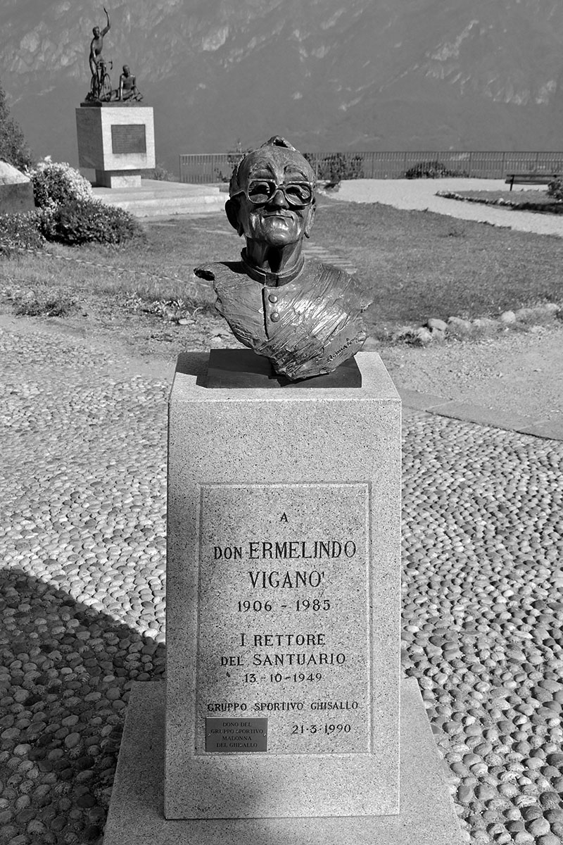 Bust of Fr Ermelindo Vigano in Grounds of Madonna del Ghisallo Chapel Overlooking Lake Como